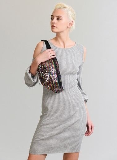 People By Fabrika Omuz Detaylı Elbise Gri